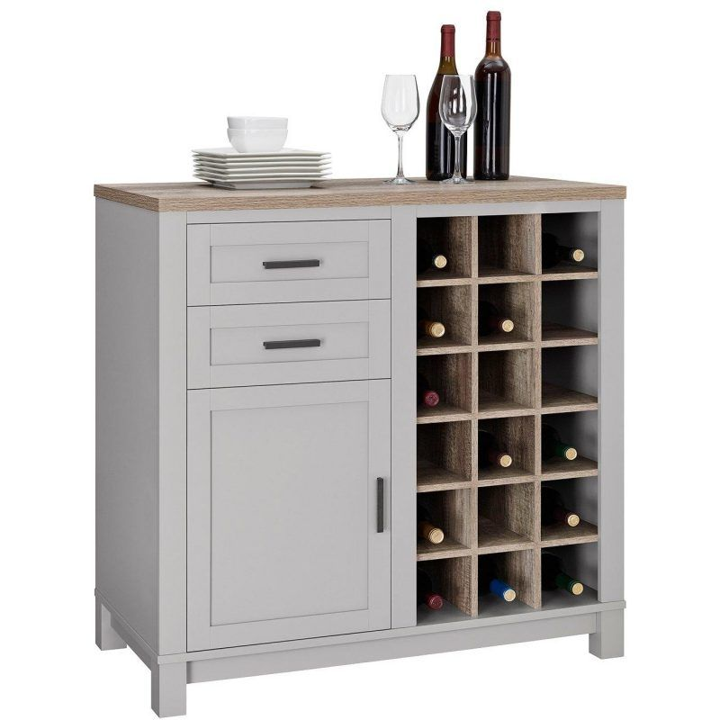 Grey and oak wine cabinet