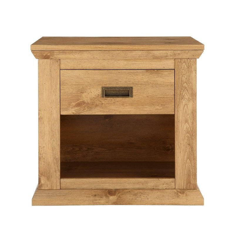 Rustic oak effect lamp table with drawer