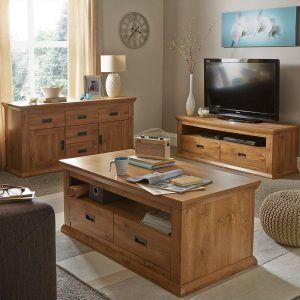 Oak effect living room furniture