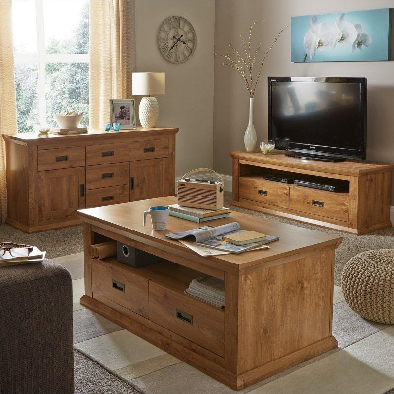 Oak effect living room furniture