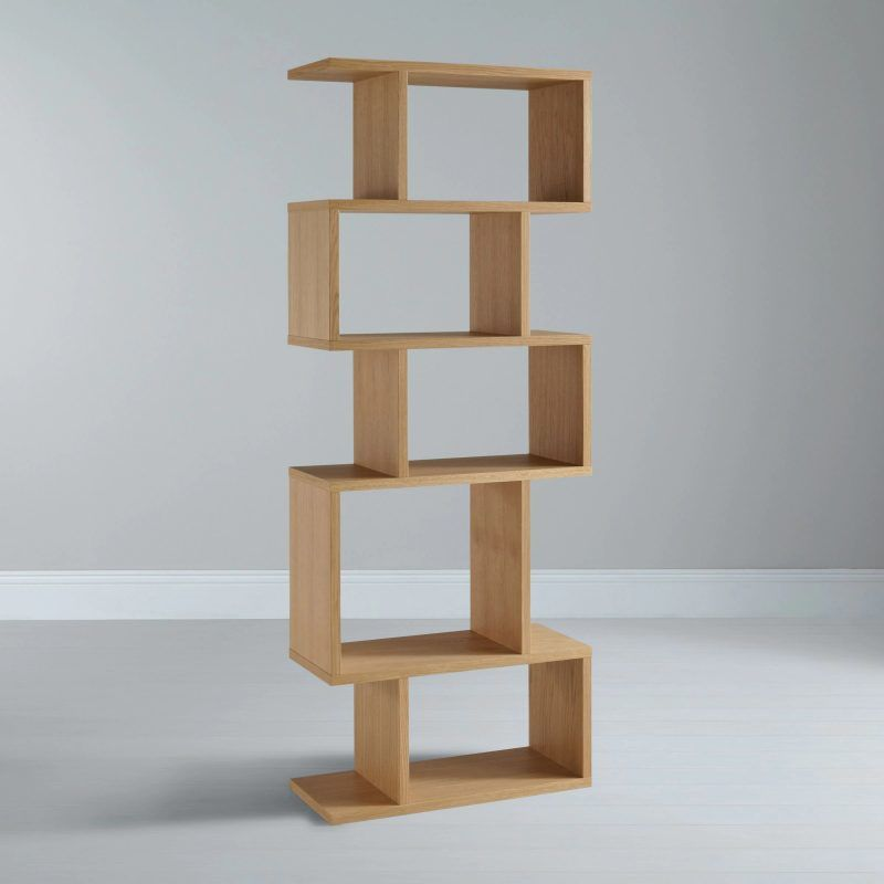 Tall narrow 5-tire shelving unit with oak finish
