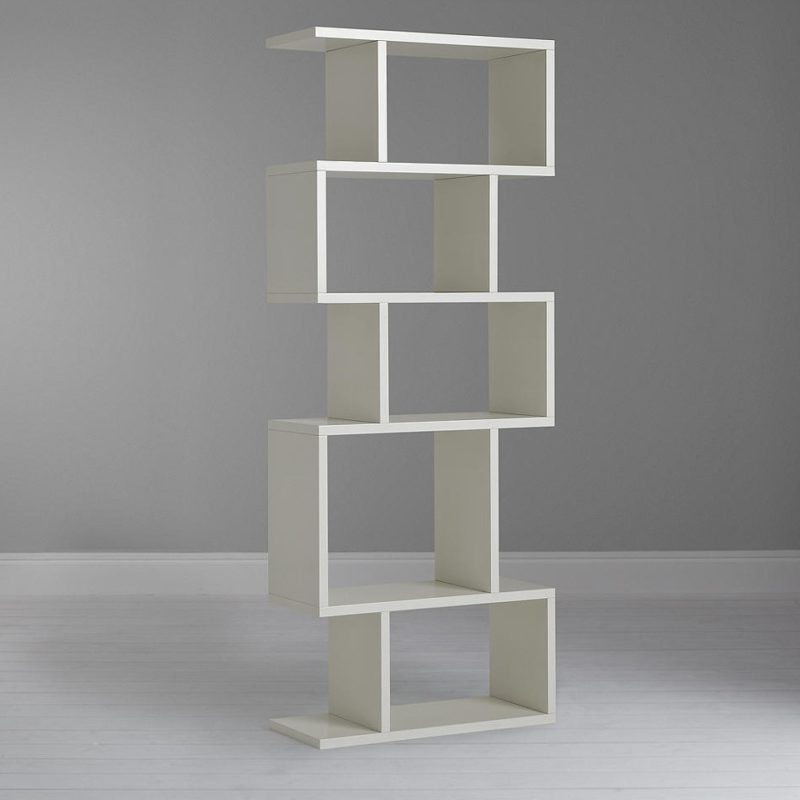 Slim white counterbalance shelving