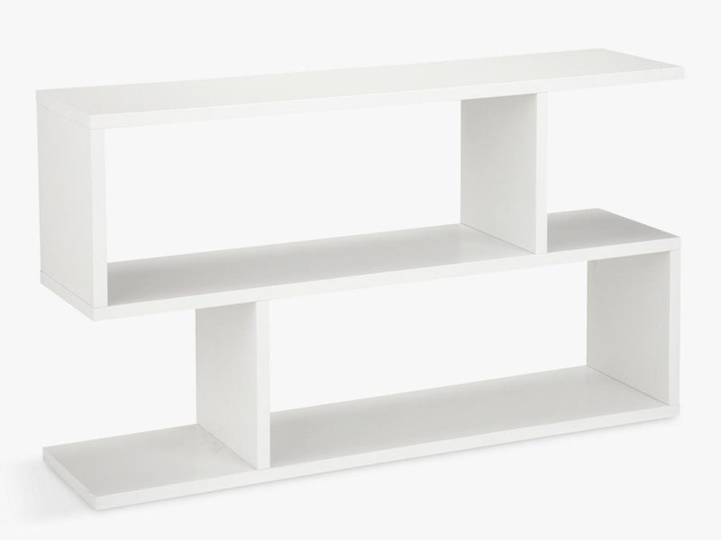 White counterbalanced low shelving unit