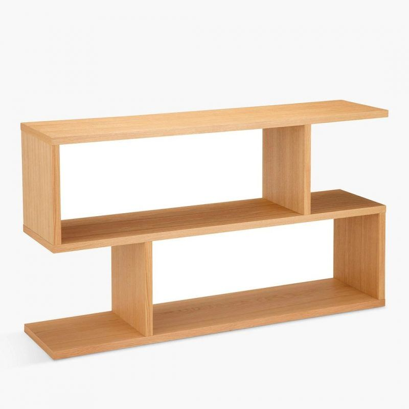 2-tier storage console table with oak finish