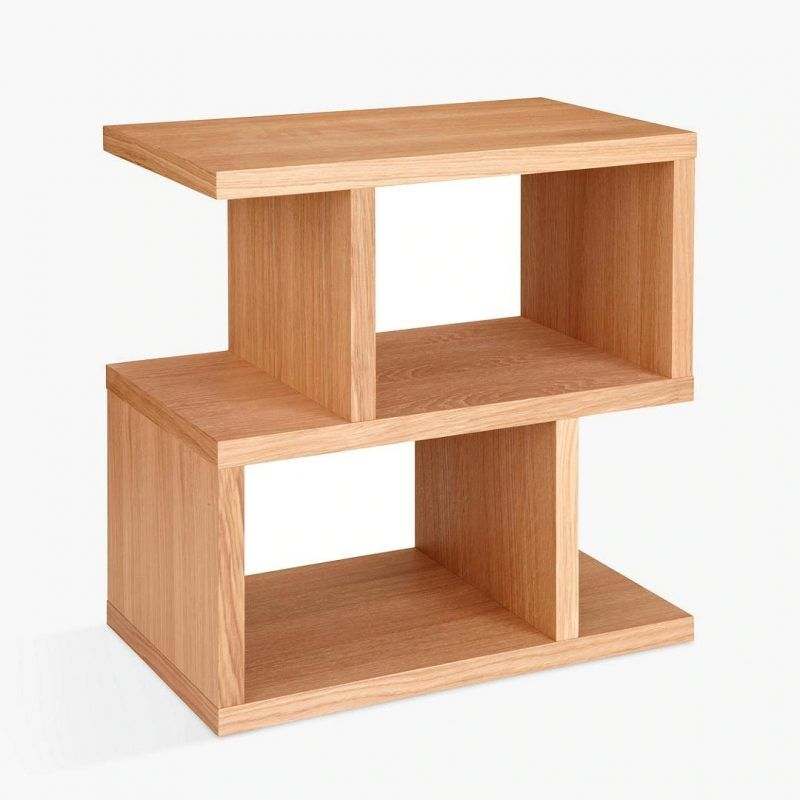 2-tier storage side table with oak finish