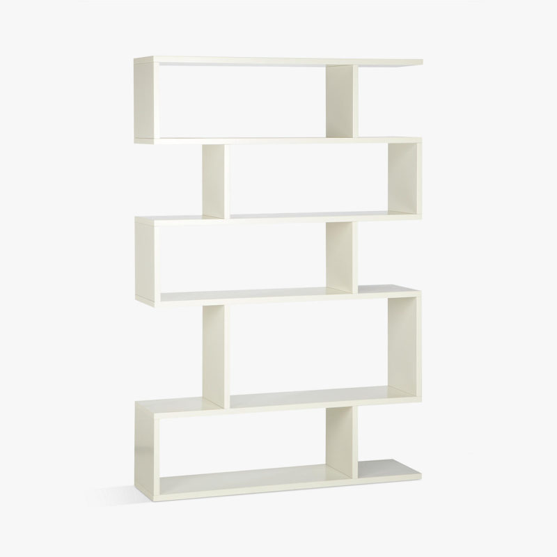 Wide counterbalance shelving with a white-painted finish