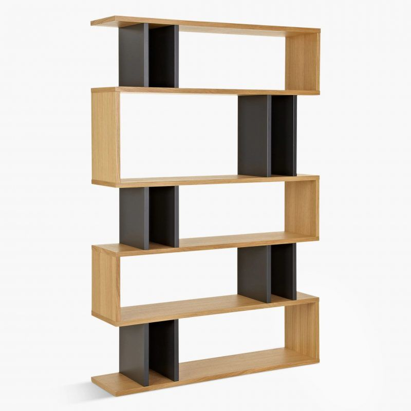 5-tier wide shelving unit with oak and black finish