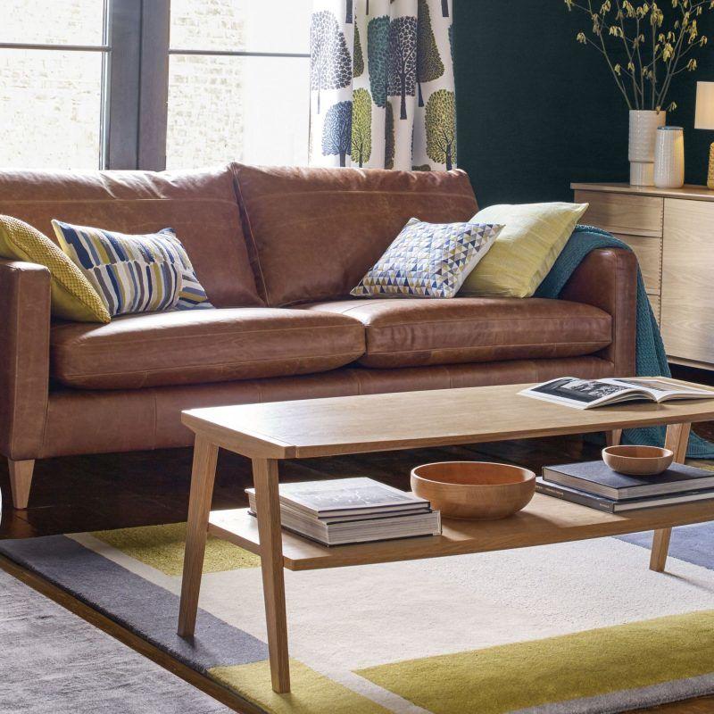 Geometric design oak coffee table
