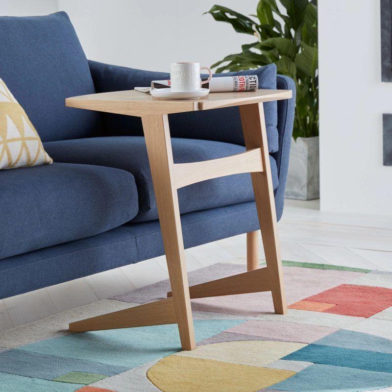 Oak leaning-style side table