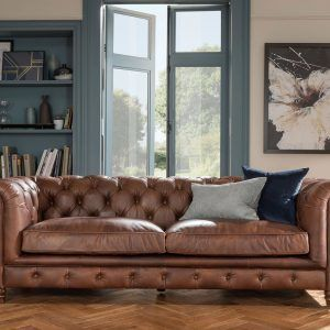 4-seater leather Chesterfield