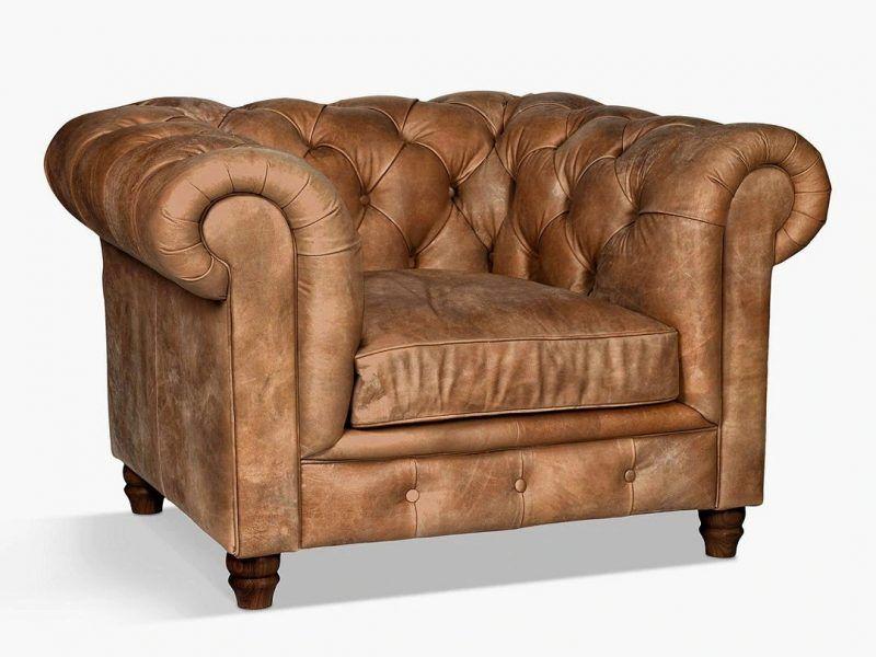 Nut coloured leather armchair
