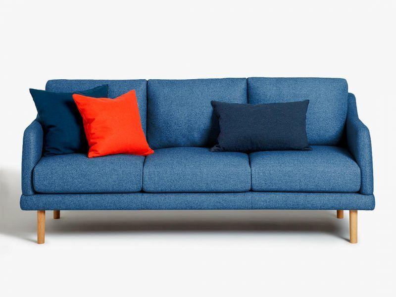 Ocean blue fabric 3-seater sofa
