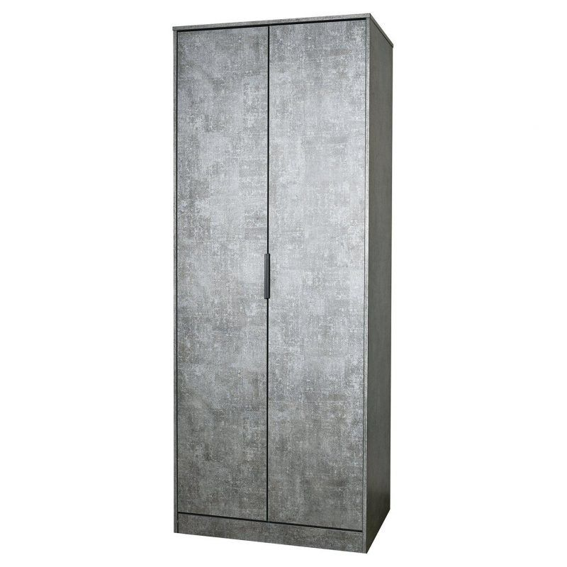 2 door wardrobe with grey pattern finish