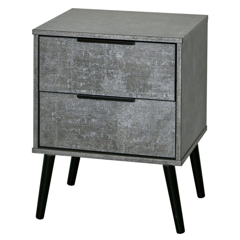 Grey 2-drawer bedside chest