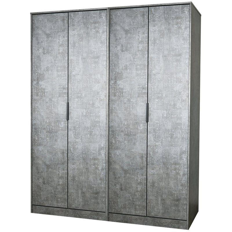 4 door wardrobe with grey graphic pattern finish