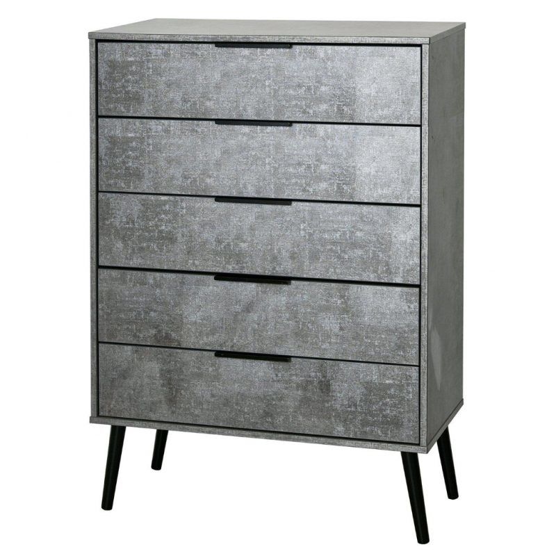 Grey 5-drawer chest