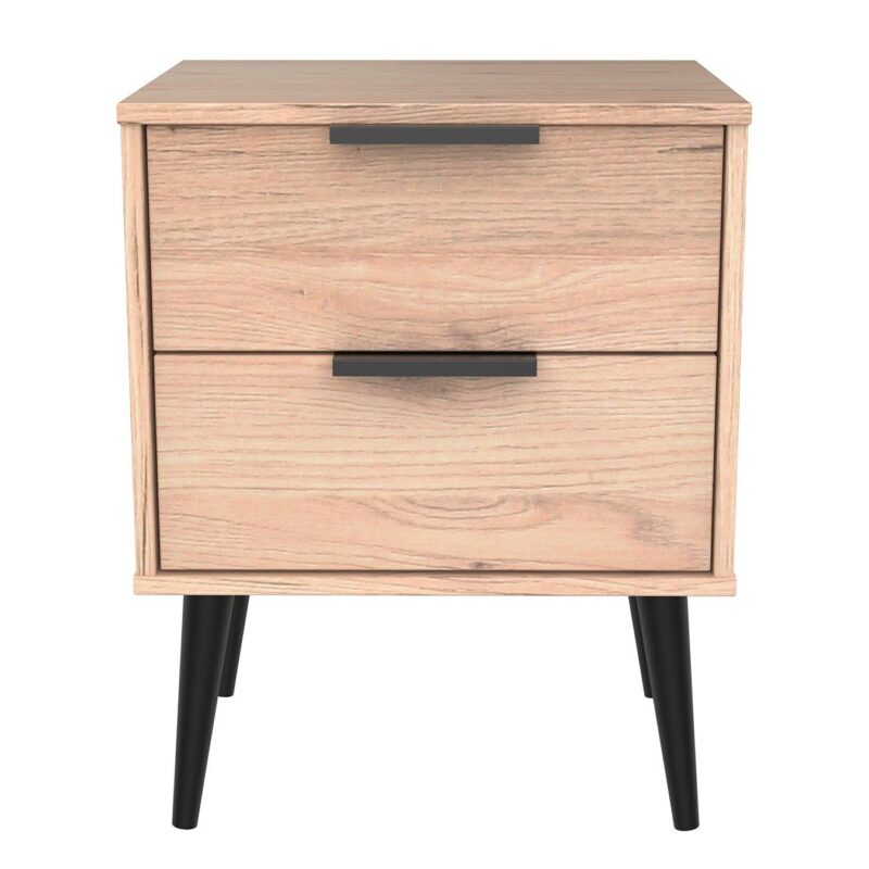 2-drawer oak bedside with black handles and legs