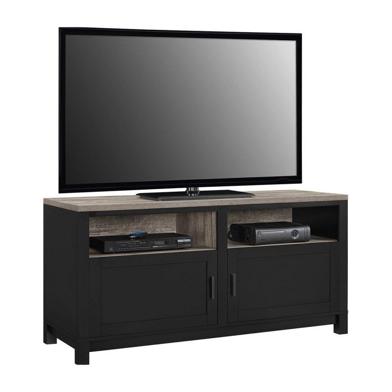 Black TV stand with oak top