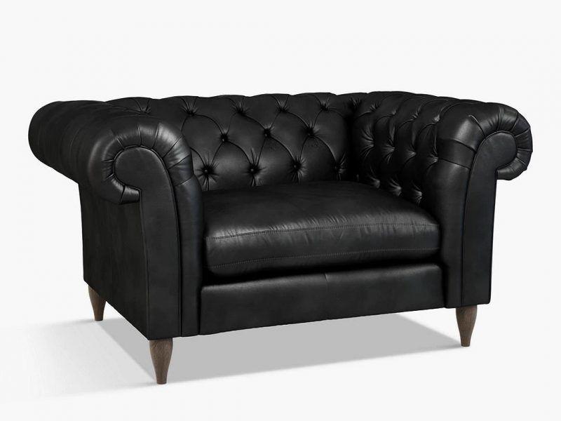 Black leather snuggler sofa