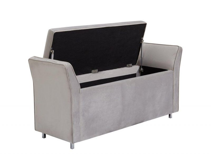 Grey velvet upholstered blanket box