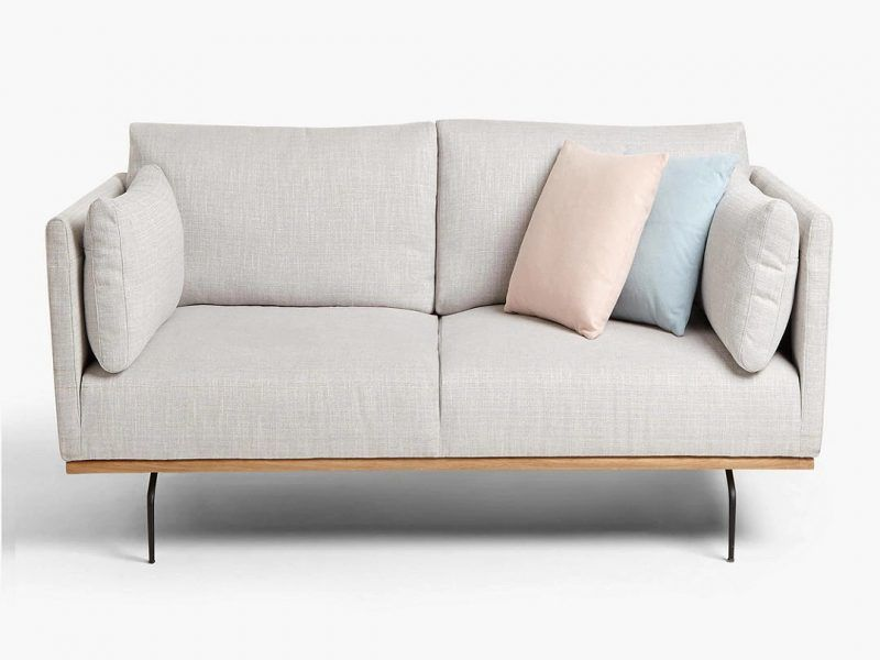 2-seater grey fabric platform sofa