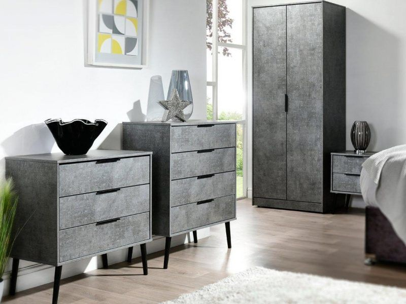 Bedroom furniture with grey pattern finish