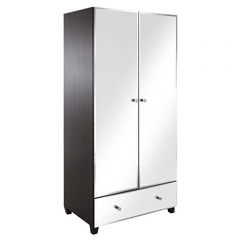 Double wardrobe with mirrored doors and lower drawer