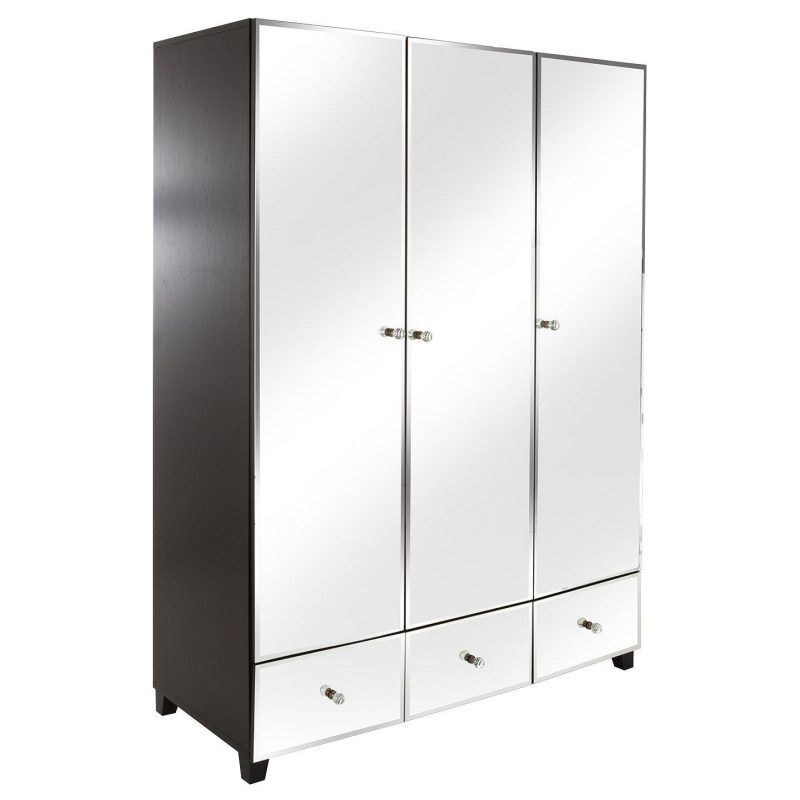Triple wardrobe with mirrored doors and drawers
