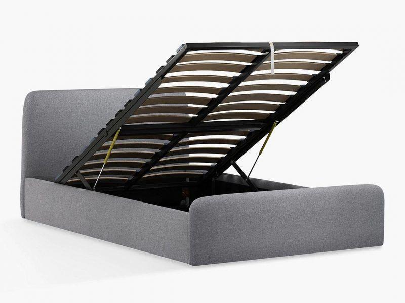 Grey fabric ottoman storage bed