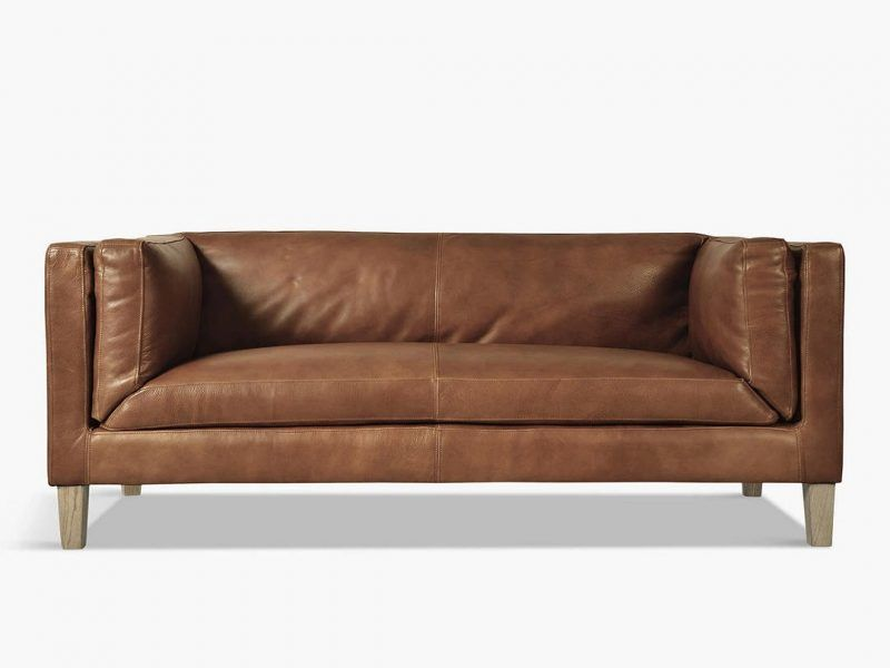 High arm leather 2-seater sofa