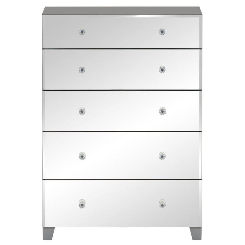 5 drawer mirrored tallboy