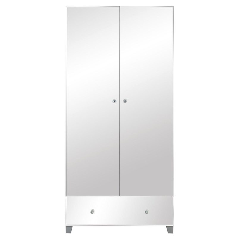 2-door mirrored wardrobe with drawer