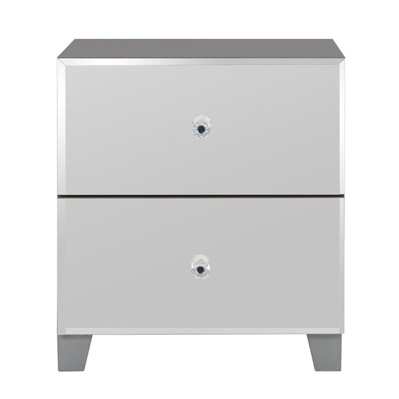 2 drawer bedside cabinet with mirror finish