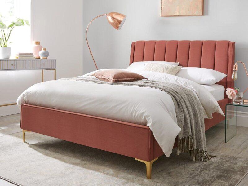 Rode velvet fabric upholstered bed frame