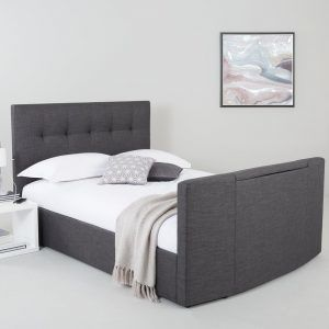 Grey fabric upholstered TV bed