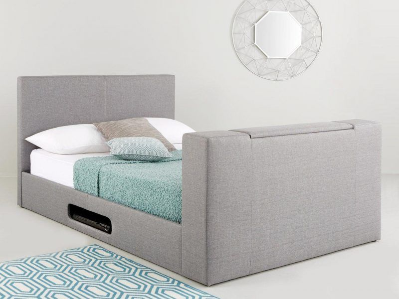 Fabric upholstered TV bed frame