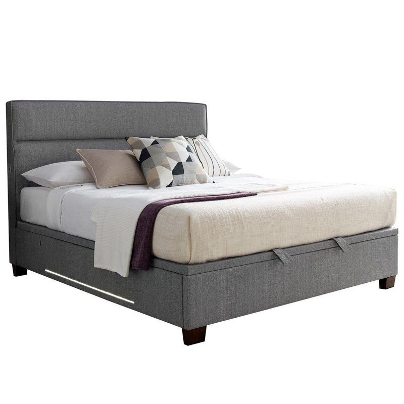 Tokyo grey upholstered storage bed