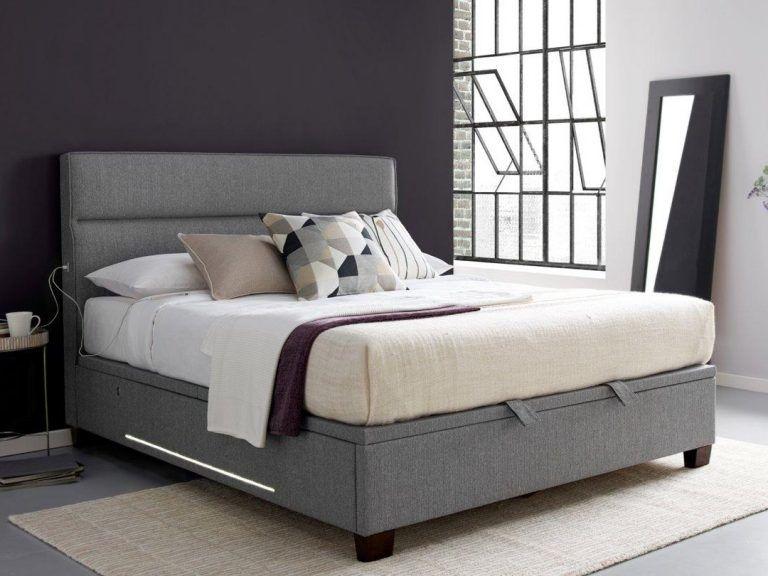 Grey upholstered storage bed