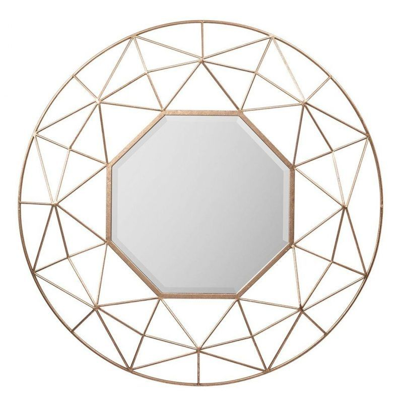 Gold coloured mirror with geometric frame
