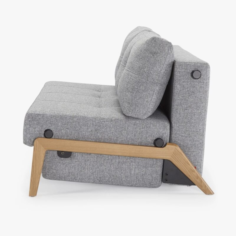 Granite Grey Fabric Sofa Bed with Natural Wood Frame