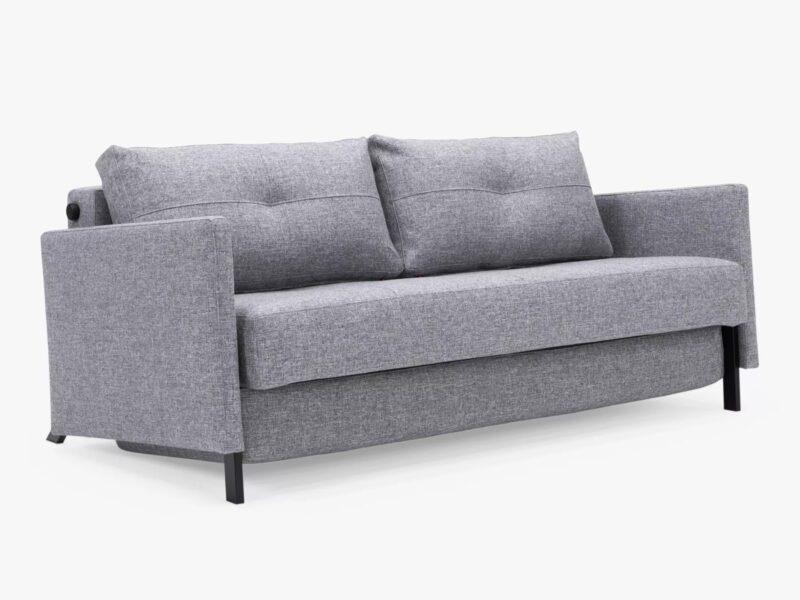 Grey fabric 3-seater Sofa Bed