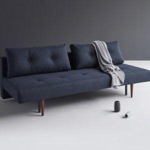 Dark blue mid century style sofa bed