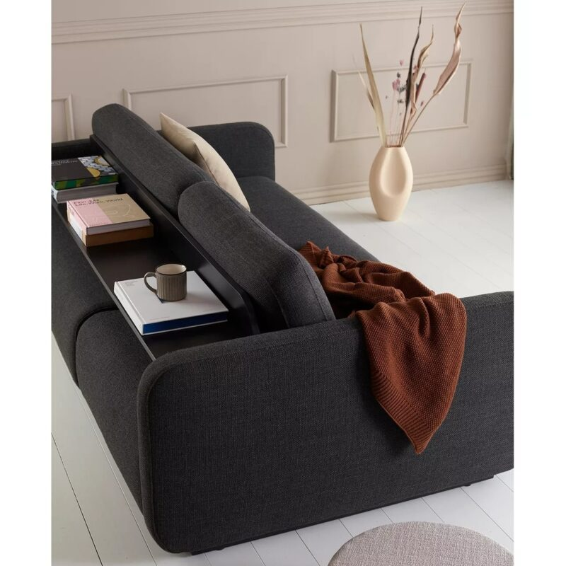 Modern fabric sofa bed with a rounded form