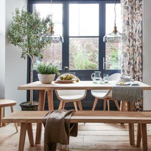 Solid oak dining table and benches