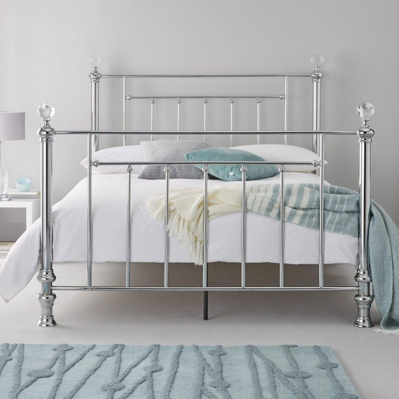 Shiny metal bed frame