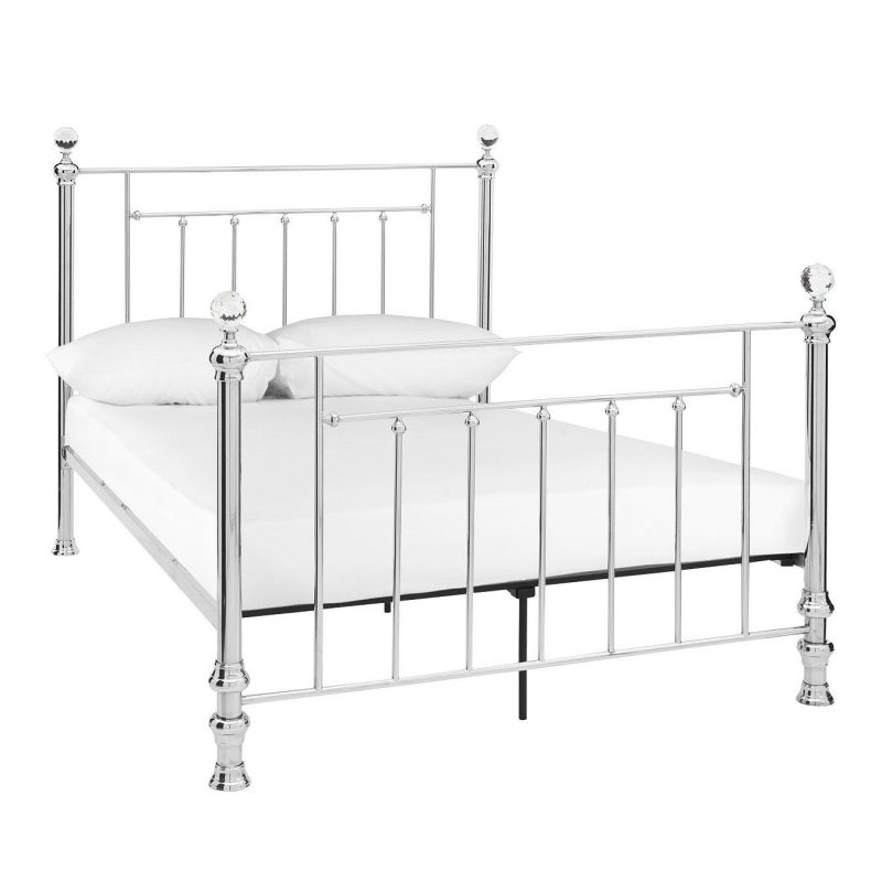 Metal bed frame with crystal-like finials