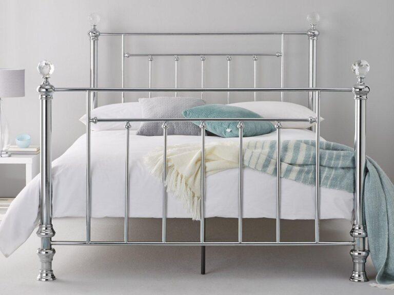 Shiny metal bed frame