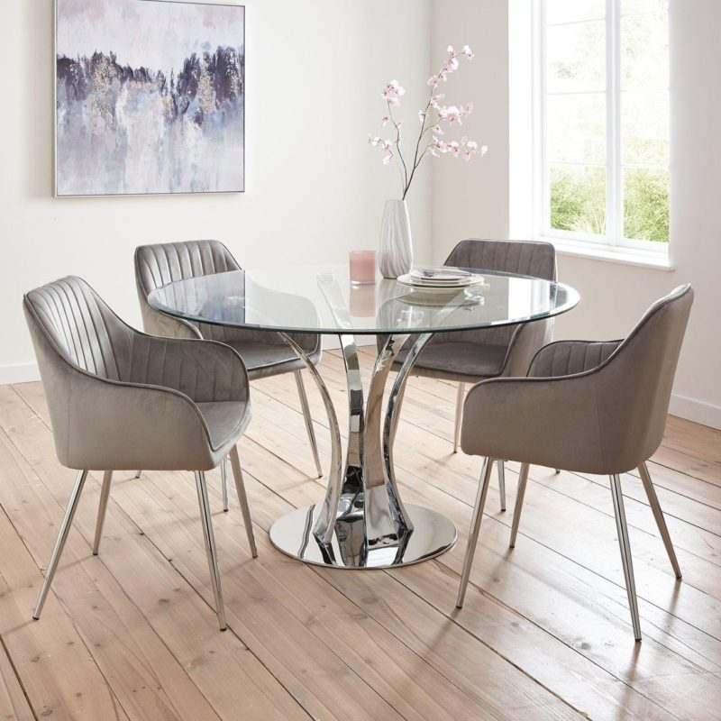 Circular glass dining table with 4 chairs