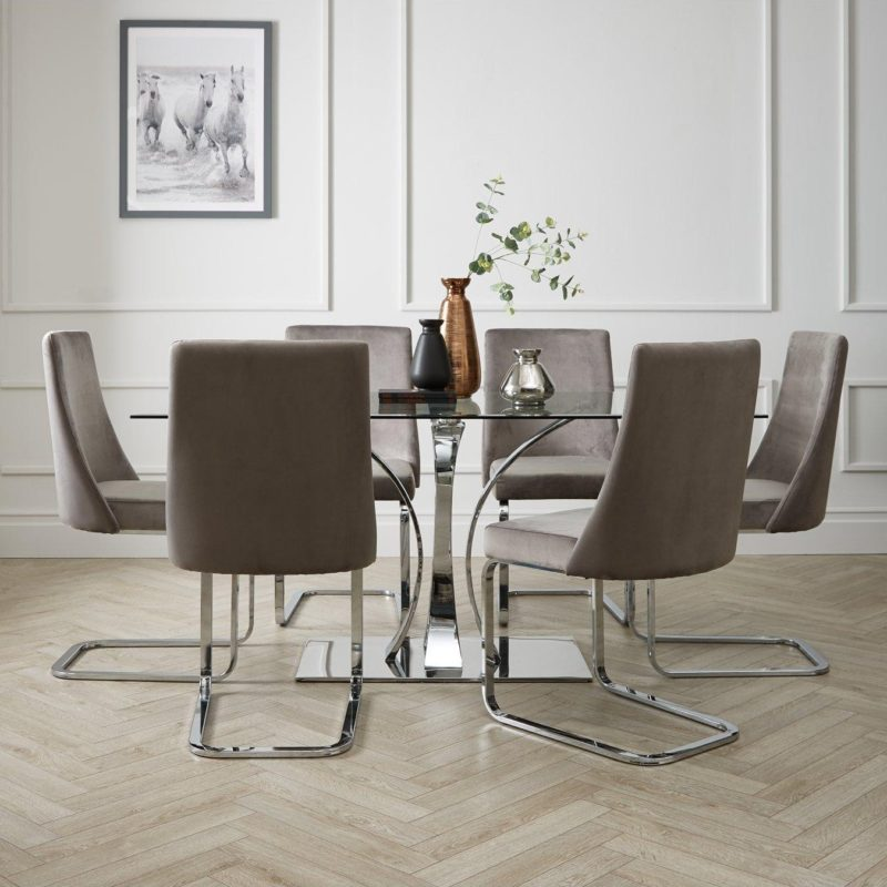 Rectangular glass dining table and 6 chairs