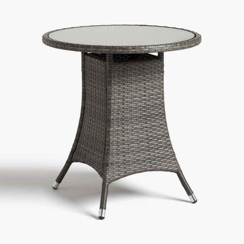 Rattan bistro table with round glass top
